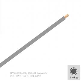 1,0 mm² einadrig H05V-K Leitung Farbe Grau 10 Meter Bund