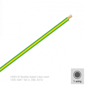 0,5 mm² einadrig H05V-K Leitung Farbe Grün - Gelb 10 Meter Bund
