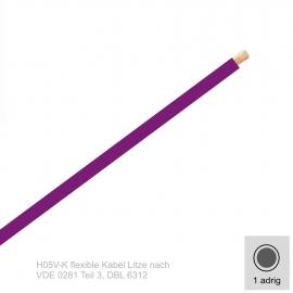1,0 mm² einadrig H05V-K Leitung Farbe Lilla 10 Meter Bund