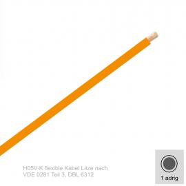 1,0 mm² einadrig H05V-K Leitung Farbe Orange 10 Meter Bund