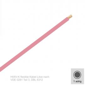 0,75 mm² einadrig H05V-K Leitung Farbe Rosa 10 Meter Bund