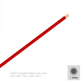 0,75 mm² einadrig H05V-K Leitung Farbe Rot 10 Meter Bund