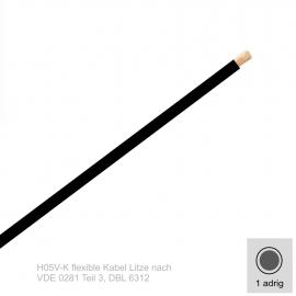 0,75 mm² einadrig H05V-K Leitung Farbe Schwarz 10 Meter Bund