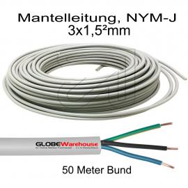 Mantelleitung, 3 x 1,5² NYM-J, grau 50 Meter Bund