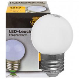 LED Lampe, Tropfen, E27 / 1W, opal, 60 lm, TS-Electronics